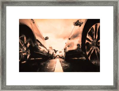 The Parkinglot Seen From The Ground In Oil Style Framed Print by Tommytechno Sweden