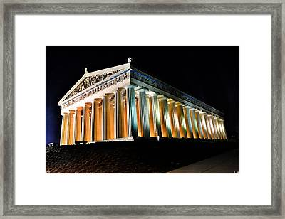 The Parthenon In Nashville Tennessee At Night 2 Framed Print by Lisa Wooten