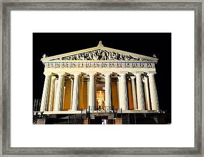 The Parthenon In Nashville Tennessee At Night Framed Print by Lisa Wooten