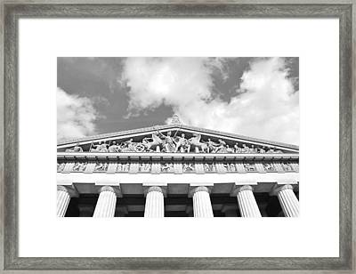 The Parthenon In Nashville Tennessee Black And White 2 Framed Print by Lisa Wooten