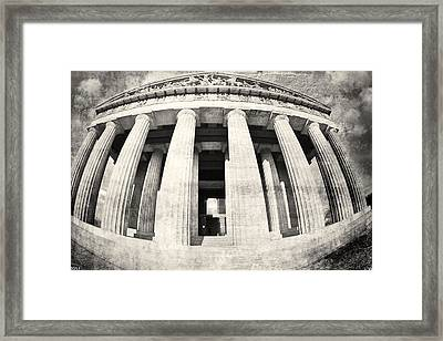 The Parthenon In Nashville Tennessee Black And White 3 Framed Print by Lisa Wooten