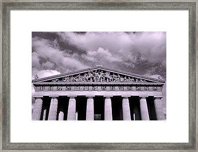 The Parthenon In Nashville Tennessee Black And White Framed Print by Lisa Wooten
