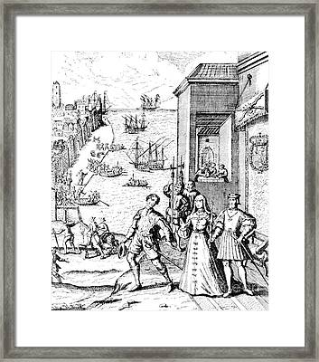 The Parting Of Columbus With Ferdinand And Isabella Framed Print