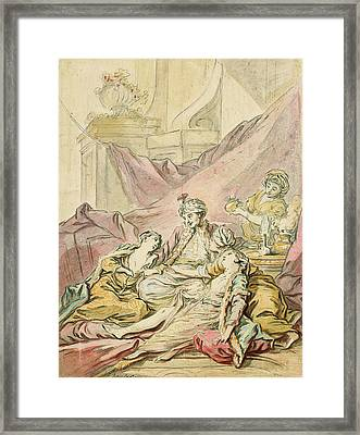 The Pasha In His Harem Framed Print by Francois Boucher