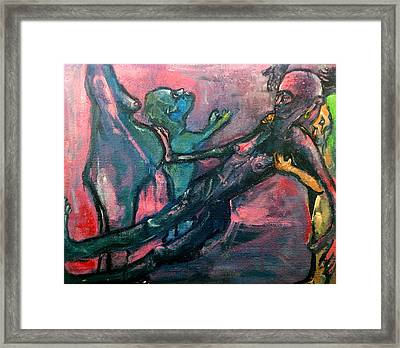 Framed Print featuring the painting The Passage From This Life Into The Next     But Not Without Protest This Time    by Kenneth Agnello