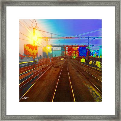 The Past Train 2 Square Framed Print