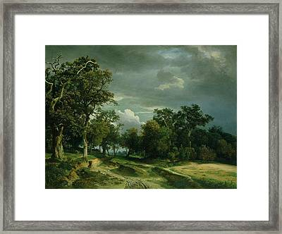 The Path On The Edge Of The Wood Framed Print by Johann Wilhelm Schirmer