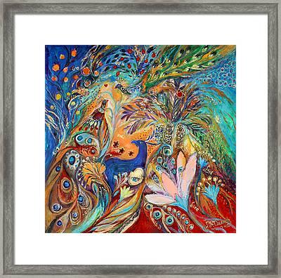 The Peacocks And Blue Deer Framed Print by Elena Kotliarker