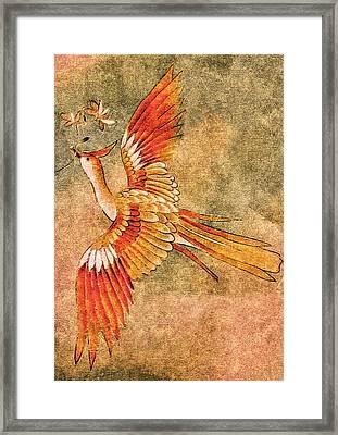 The Peahen's Gift - Kimono Series Framed Print
