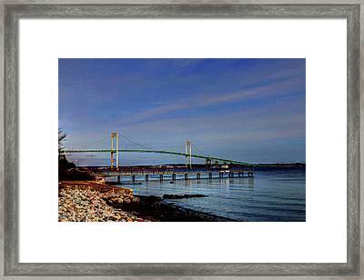 Framed Print featuring the photograph The Pell Bridge Newport Ri by Tom Prendergast