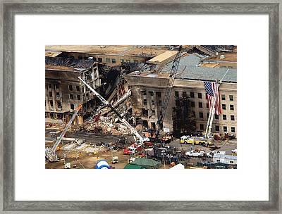 The Pentagon Showing The Impact Point Framed Print by Everett