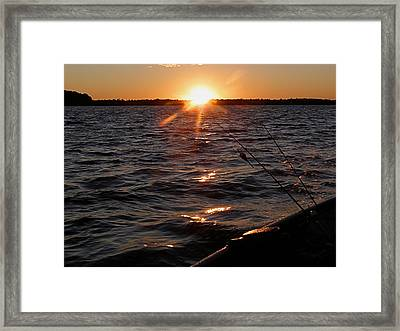 Framed Print featuring the photograph The Perfect Ending - After A Good Day Of Fishing by Angie Rea