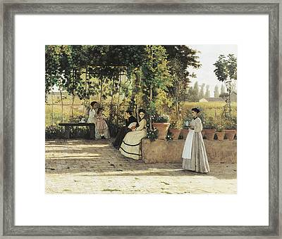 The Pergola Framed Print by Silvestro Lega