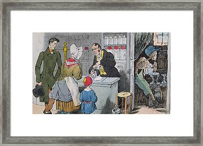 The Pharmacist And His Assistant Framed Print by Grandville
