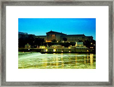 The Philadelphia Art Museum And Waterworks At Night Framed Print by Bill Cannon