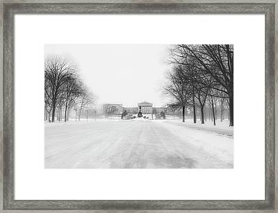 The Philadelphia Art Museum In A Winter Storm Framed Print by Bill Cannon