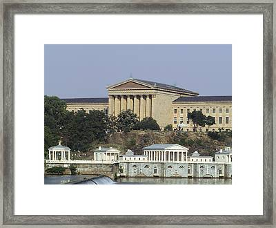 The Philly Art Museum And Waterworks Framed Print by Bill Cannon