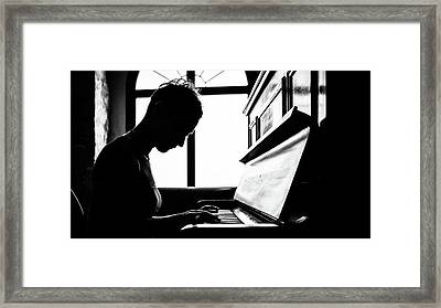 The Pianist - Isernia, Italy - Black And White Photography Framed Print