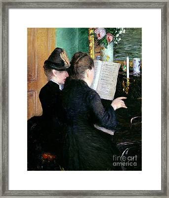 The Piano Lesson Framed Print by Gustave Caillebotte