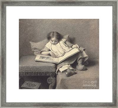 The Picture Book Framed Print by Eastman Johnson