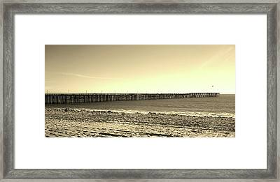 The Pier Framed Print by Mary Ellen Frazee