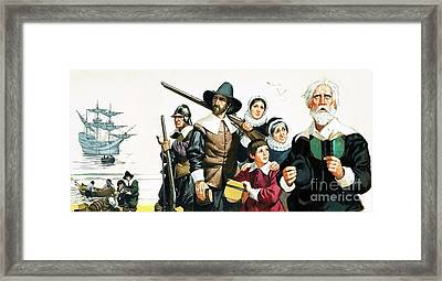 The Pilgrim Fathers Arrive In America Framed Print by Angus McBride