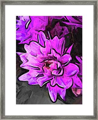 The Pink And Lavender Flowers On The Grey Surface Framed Print
