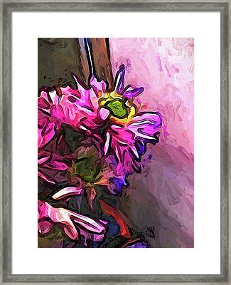 The Pink And Purple Flower By The Pale Pink Wall Framed Print