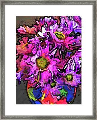 The Pink And Purple Flowers In The Red And Blue Vase Framed Print