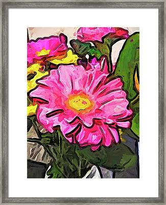 The Pink And Yellow Flowers With The Big Green Leaves Framed Print