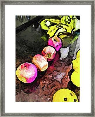 The Pink Apples In A Curve With The Yellow Lemons Framed Print
