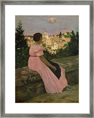 The Pink Dress Framed Print by Jean Frederic Bazille