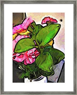The Pink Flowers Behind The Green Leaves Framed Print