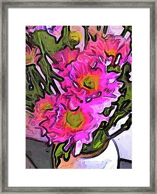 The Pink Flowers In The White Vase Framed Print