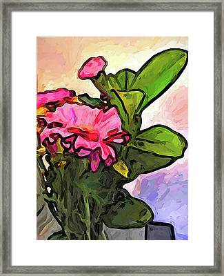 The Pink Flowers On The Left With The Green Leaves Framed Print