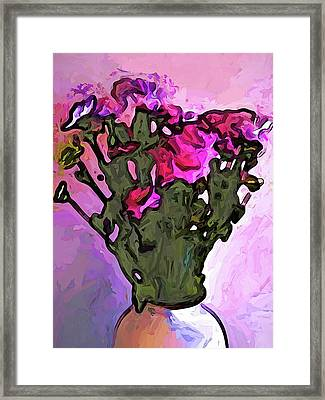 The Pink Flowers With The Long Stems In The Vase Framed Print