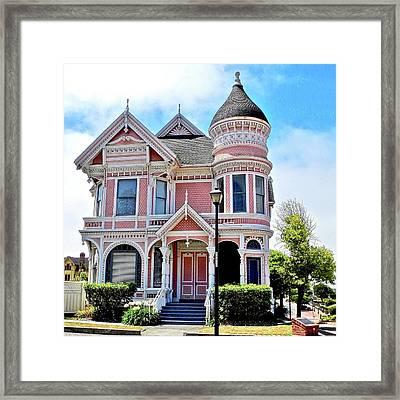 The Pink Gingerbread House In Eureka Framed Print