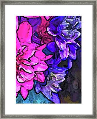 The Pink Petals With The Purple And Blue Flowers Framed Print
