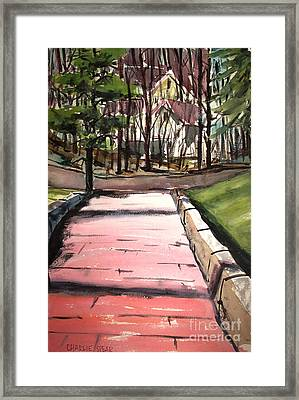 The Pink Road Off S Broadway Matted Glassed Framed Print by Charlie Spear