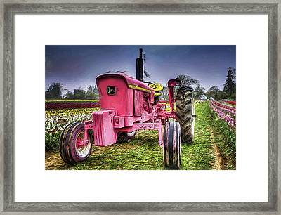 Framed Print featuring the photograph The Pink Tractor At The Wooden Shoe Tulip Farm by Thom Zehrfeld