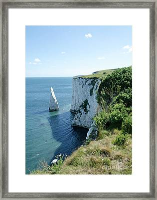 The Pinnacle Stack Of White Chalk From The Cliffs Of The Isle Of Purbeck Dorset England Uk Framed Print by Andy Smy