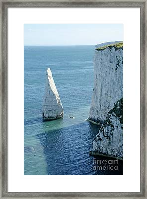The Pinnacle Stack Of White Chalk On The Isle Of Purbeck Dorset England Uk Framed Print by Andy Smy