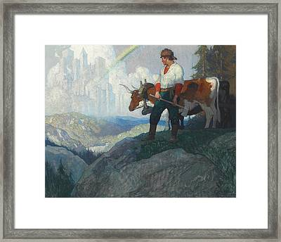 The Pioneer And The Vision Framed Print by Newell Convers Wyeth