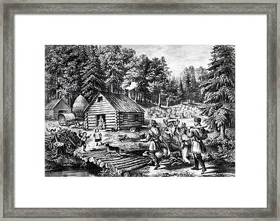 The Pioneer's Home On The Western Frontier Framed Print by Currier and Ives