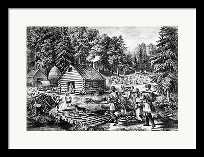 Pioneer Homes Drawings Framed Prints