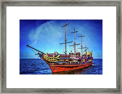 The Pirate Ship Ustka In Sopot  Framed Print by Carol Japp