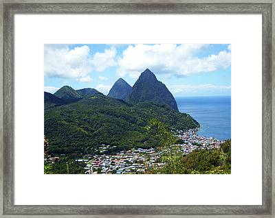 Framed Print featuring the photograph The Pitons, St. Lucia by Kurt Van Wagner