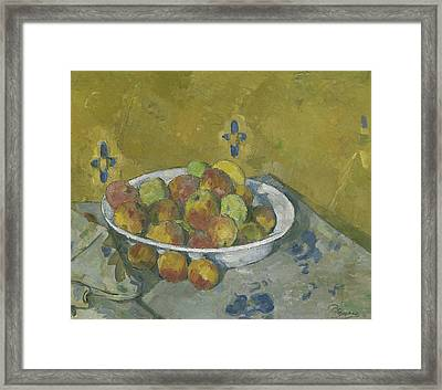 The Plate Of Apples Framed Print by Paul Cezanne
