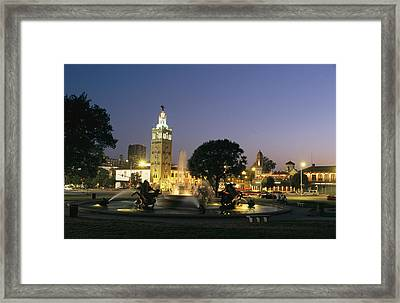 The Plaza In Kansas City, Mo, At Night Framed Print