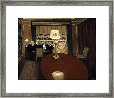 The Poker Game Framed Print by Felix Vallotton